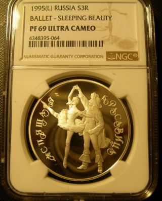 Russia 1995l Silver 1 Oz 3 Roubles Ngc Pf - 69uc Ballet - Sleeping Beauty photo