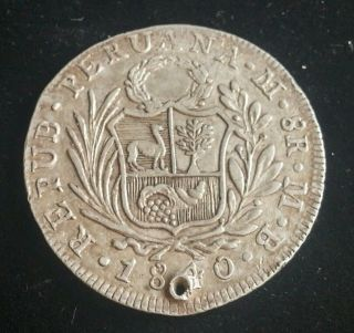 Peru Lima 8 Reales 1840 Holed photo