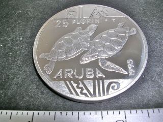 1995 Aruba Green Turtle Silver Coin 25g 25f Low Mintage photo