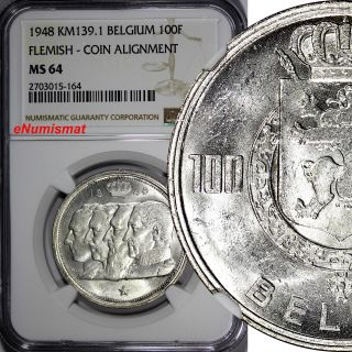 Belgium Silver 1948 100 Francs,  100 Frank Flemish Ngc Ms64 Top Graded Km 139.  1 photo