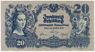 Austria 1945 Issue 20 Shilling Very Crisp Note Xf.  Pick 116. photo