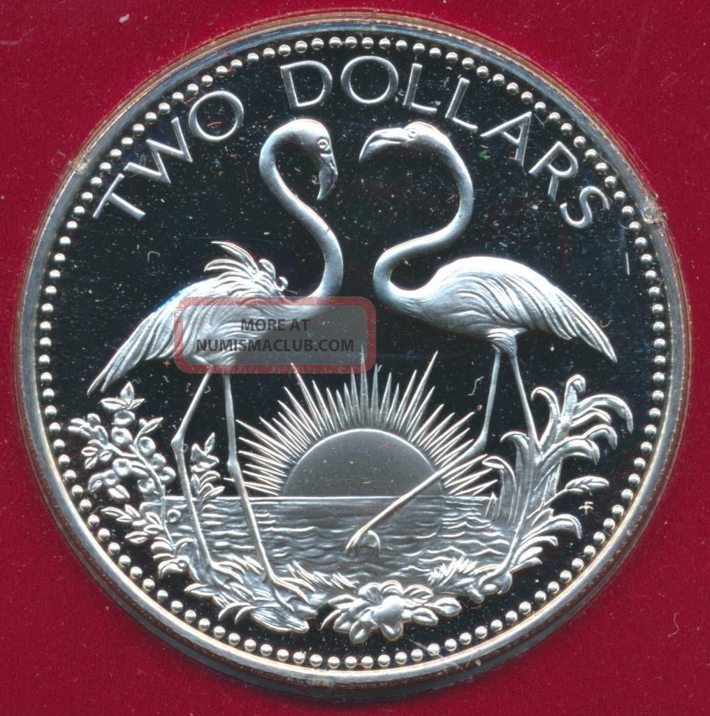 1976 Bahama Islands 2 Flamingos $2 Dollar Sterling Silver Proof Coin Low Mintage Coins: World photo