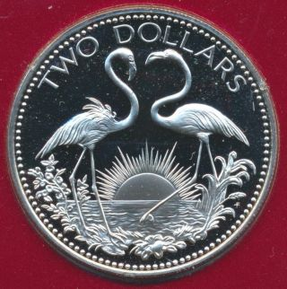1976 Bahama Islands 2 Flamingos $2 Dollar Sterling Silver Proof Coin Low Mintage photo