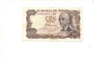 Spain 1970 100 Pesetas P 152 Circulated Xf photo