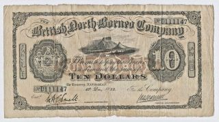The British North Borneo Company Malaysia Ten Dollars $10 1st Dec.  1922 D111147 photo