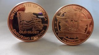 1 Oz.  Enduring Freedom Flag.  999 Fine Copper Bullion Round photo