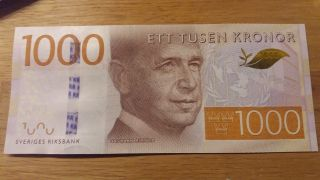 Sweden 1000 Kr 2015 Unc Un Secretary Dag Hammarskjold photo