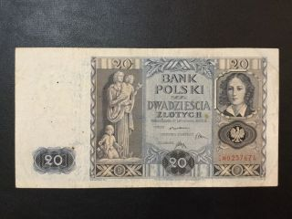 1936 Poland Paper Money - 20 Zlotych Banknote photo