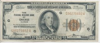 1929 $100 Federal Reserve Bank Of Chicago National Currency photo