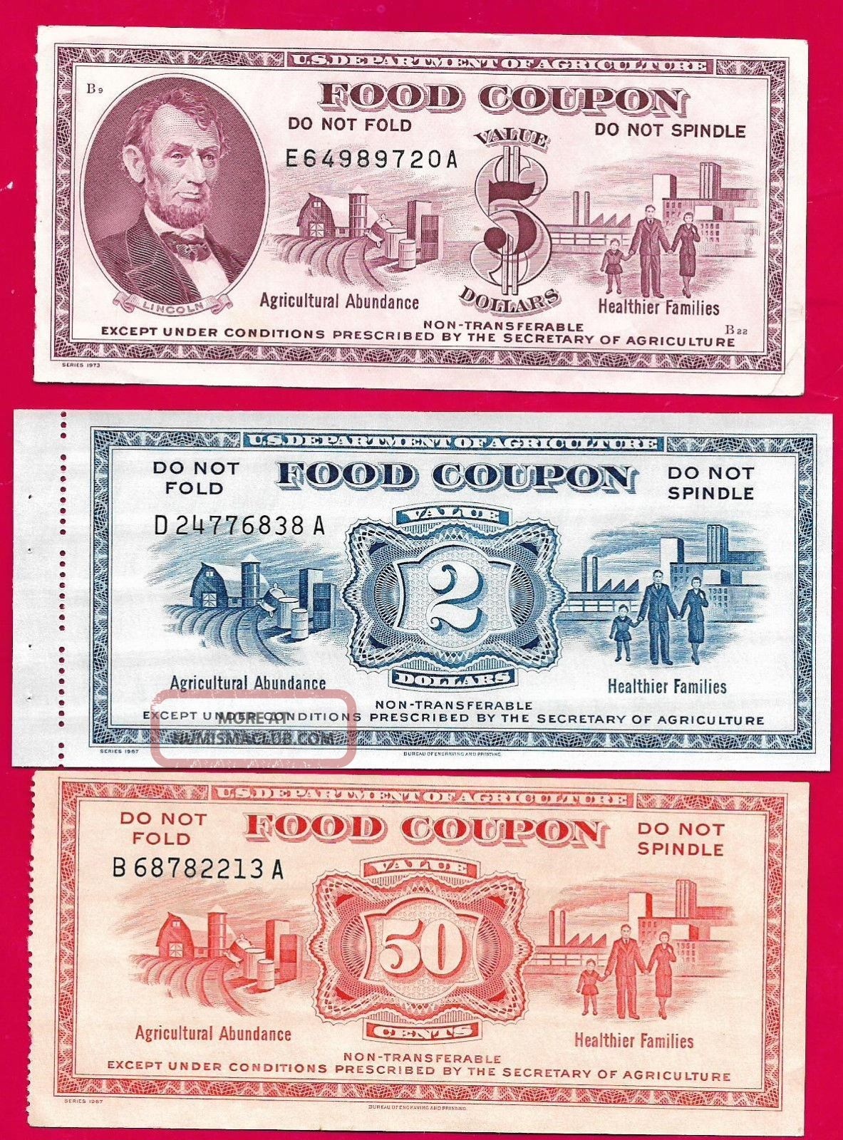 Food Stamp Coupons $0.  50 $2.  00 $5.  00 Usda Series 1967 1967 1973 Paper Money: US photo