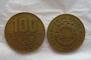 1999 Brass 100 Colones Costa Rica - - Non - Magnetic photo