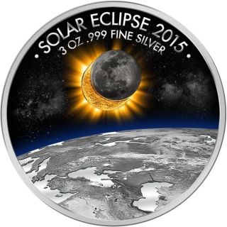 Burkina Faso 2015 1500 Franc Eclipse Of The Sun Proof - Like Silver Coin photo