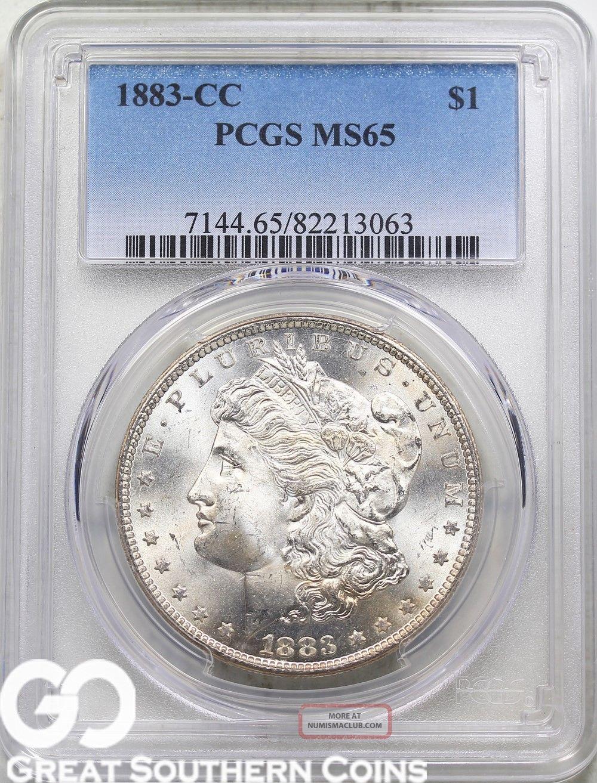 1883 - Cc Pcgs Morgan Silver Dollar Pcgs Ms 65 Very Lustrous Beauty,  S/h Dollars photo