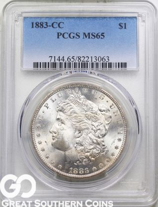 1883 - Cc Pcgs Morgan Silver Dollar Pcgs Ms 65 Very Lustrous Beauty,  S/h photo