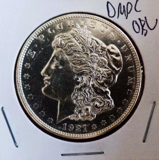 Morgan Silver Dollar 1921 P Unc Dmpl Obv Ultra Rare Strike photo