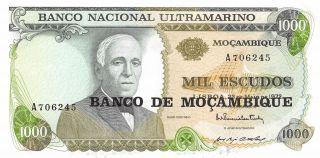 Mozambique 1000 Escudos 23.  3.  1972 Prefix A Uncirculated Banknote photo