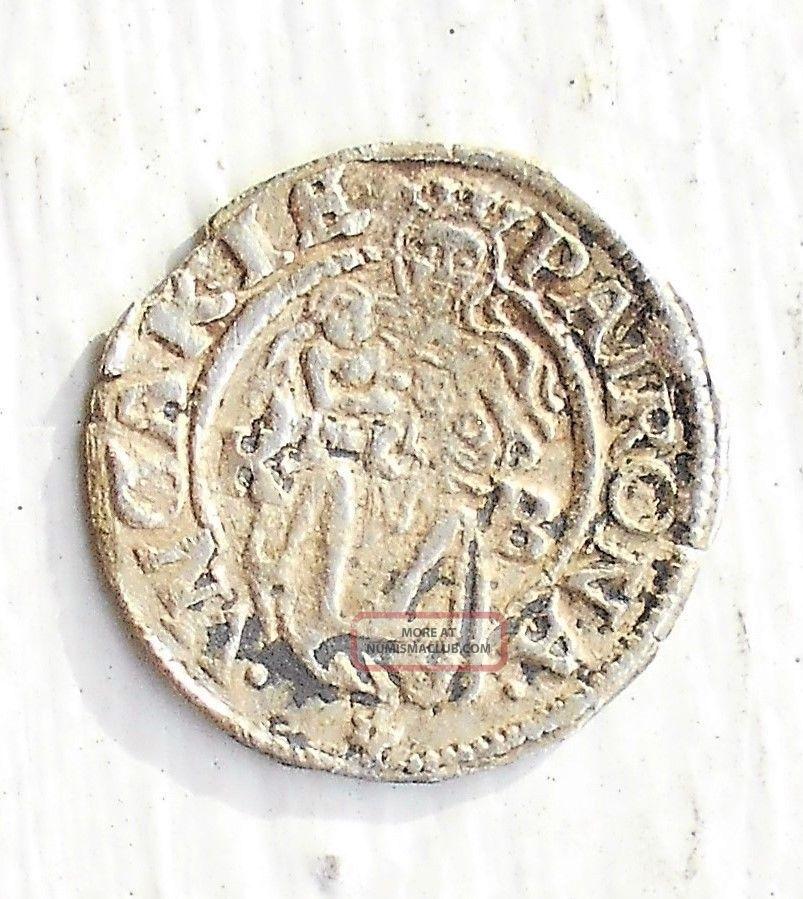 Silver Medieval 1538 - Kb Hungary Denar Ferdinand I Madonna & Child Msb 30 Europe photo