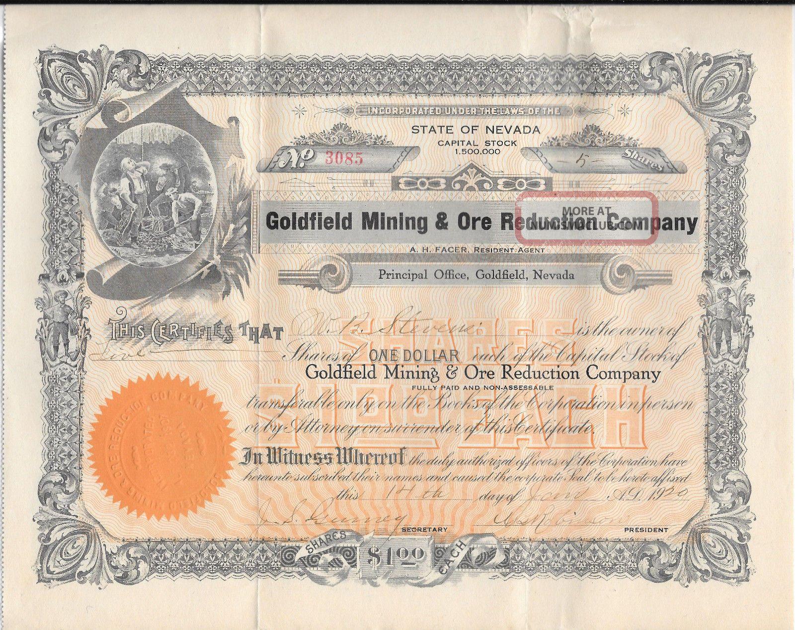 1920 Stock Certificate,  Goldfield Mining & Ore Reduction Co. ,  Goldfield,  Nevada Stocks & Bonds, Scripophily photo
