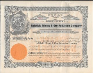 1920 Stock Certificate,  Goldfield Mining & Ore Reduction Co. ,  Goldfield,  Nevada photo