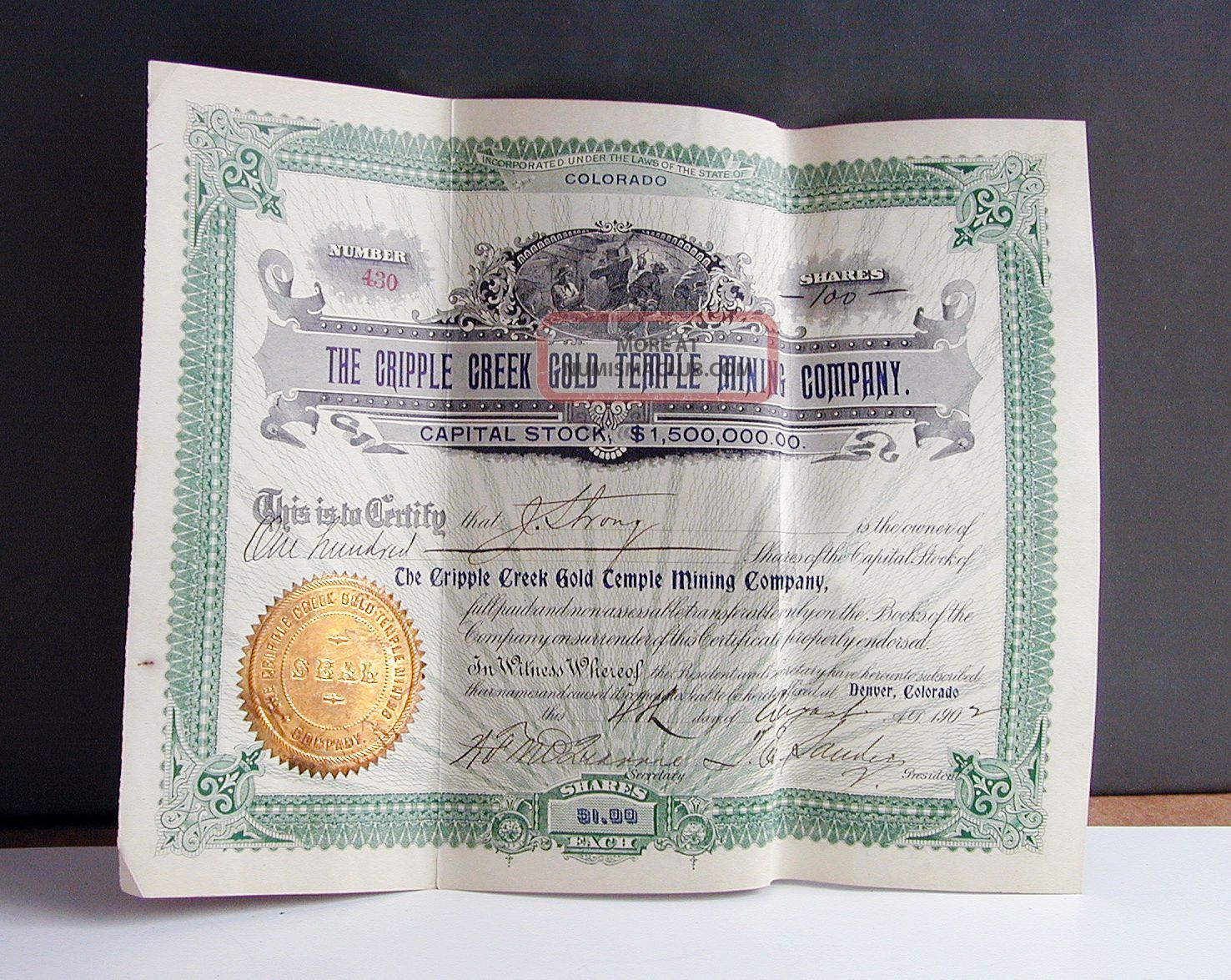 Old Cripple Creek Gold Mining Stock Certificate Colorado Rush Teller County Co Stocks & Bonds, Scripophily photo