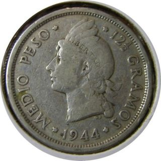 Elf Dominican Republic 1/2 Peso 1944 Silver World War Ii photo