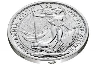 2015 Uk Great Britain 1 Oz Silver Britannia - Ram Edge Privy Goat Sheep Rare photo
