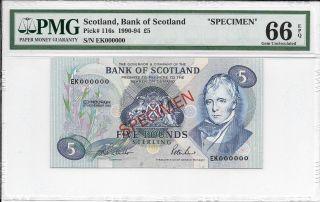 Scotland,  Bank Of Scotland - 5 Pounds,  1991.  Specimen.  Pmg 66epq. photo