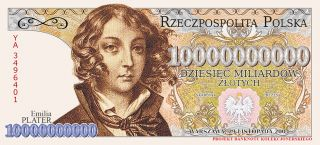 Poland Collector Note 10 Mld.  Zlotych 2004 Emilia Plater Prefix Ya photo
