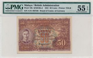 British Administration Malaya 50 Cents 1941 A/31 Pmg 55epq photo