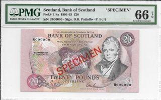 Scotland,  Bank Of Scotland - 20 Pounds,  1992.  Specimen.  Pmg 66epq. photo
