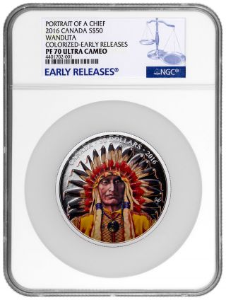 2016 Canada $50 5 Oz Silver Wanduta Portrait Of A Chief Ngc Pf70 Uc Er Sku43077 photo