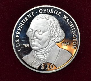 2000 Liberia George Washington $20.  64 Oz.  999 Fine Silver photo