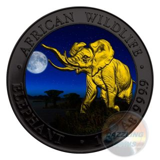 Elephant Night African Wildlife 1 Oz Silver Coin 100 Shilling Somalia 2016 - photo