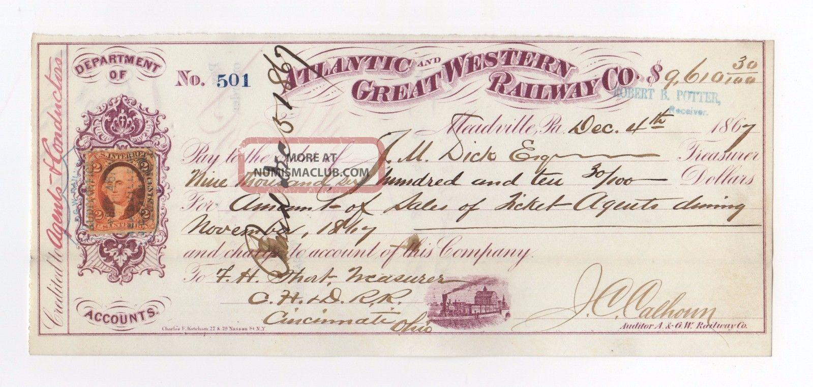 1867 Atlantic And Great Western Railway Company Check Transportation photo