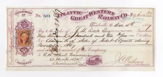 1867 Atlantic And Great Western Railway Company Check photo
