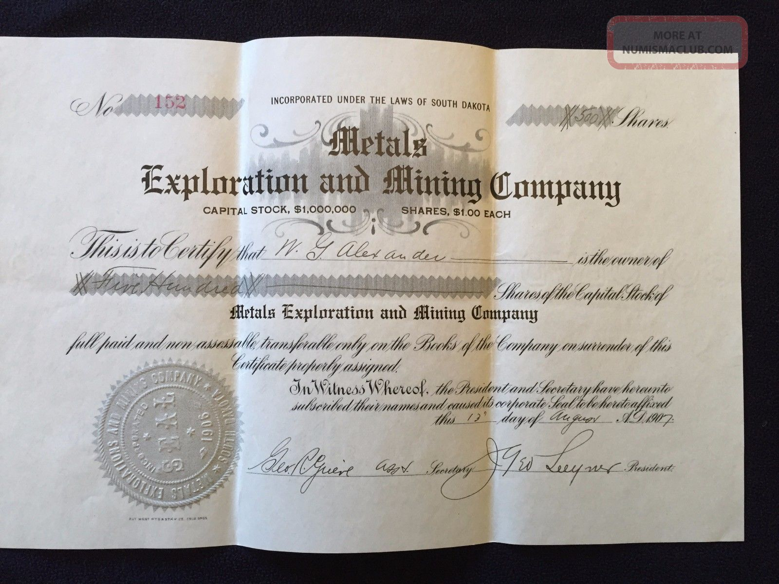 Metals Exploration And Mining Company Stock Certificate Circa 1907 Stocks & Bonds, Scripophily photo