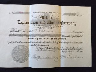 Metals Exploration And Mining Company Stock Certificate Circa 1907 photo