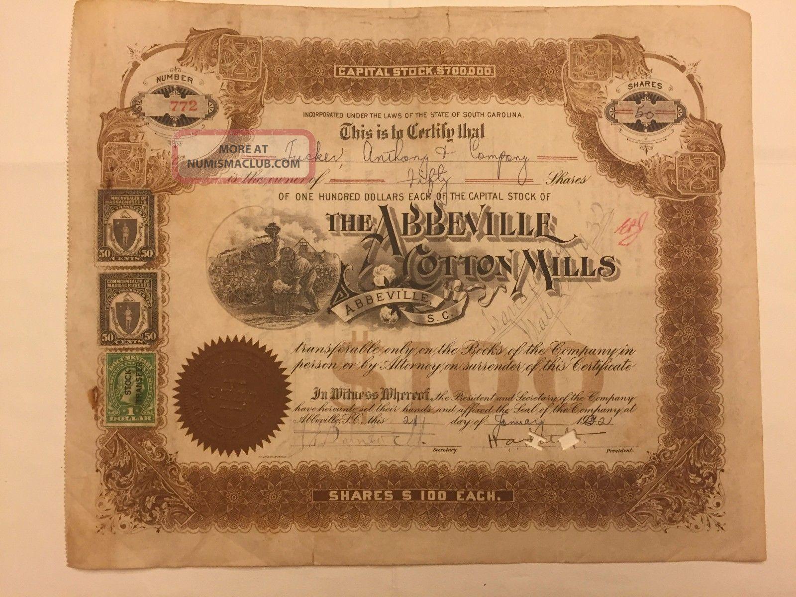 1932 Abbeville Cotton Mills Stock 29 South Carolina Doc.  Stamps Rare Slave Vig Stocks & Bonds, Scripophily photo