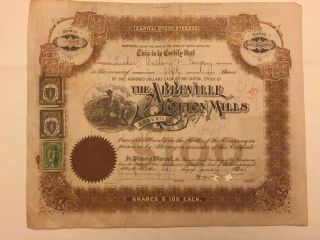 1932 Abbeville Cotton Mills Stock 29 South Carolina Doc.  Stamps Rare Slave Vig photo
