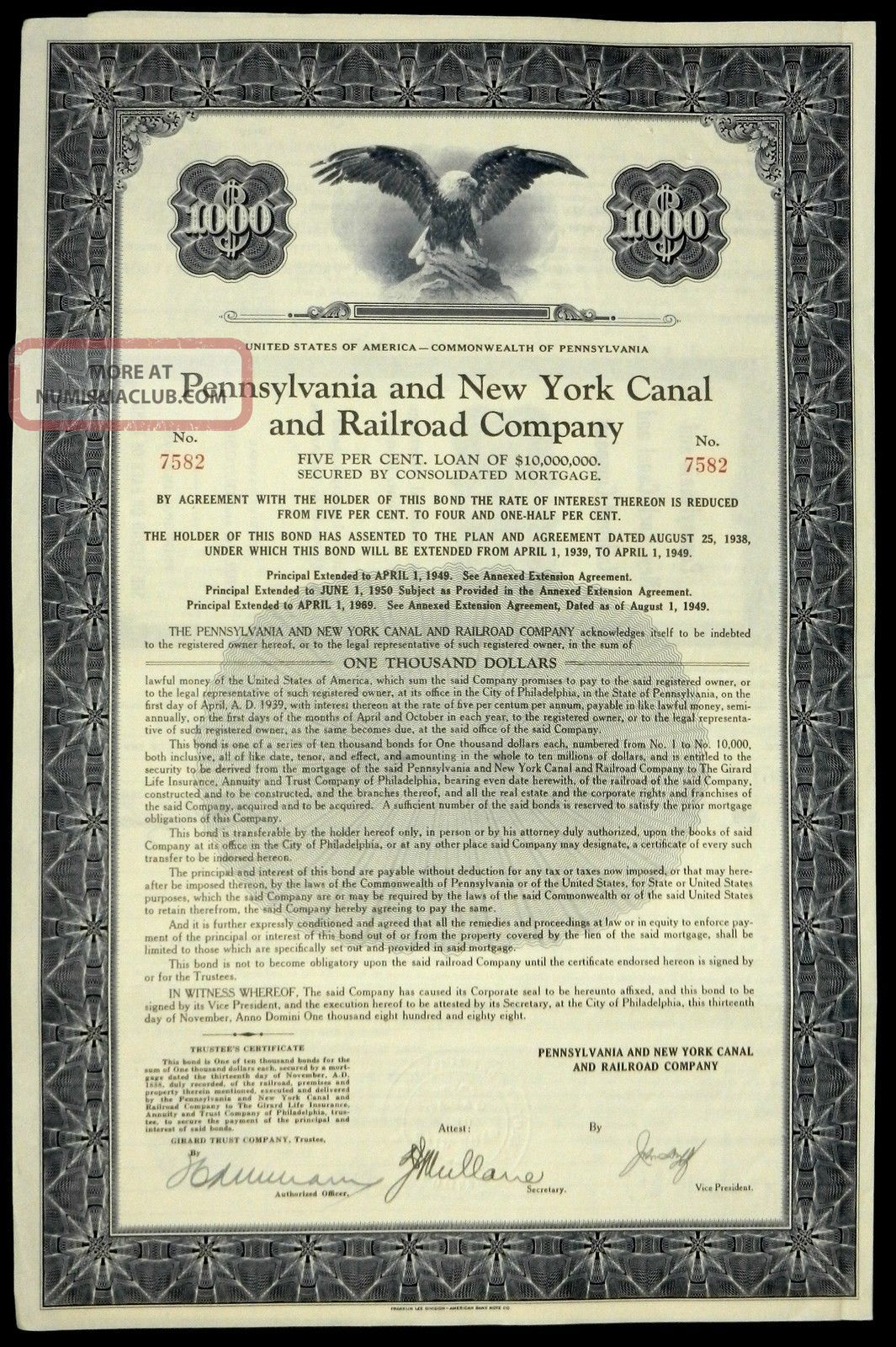 Stock Certificate Pennsylvania & York Canal Railroad 5 Loan Of $10,  000,  000 Transportation photo