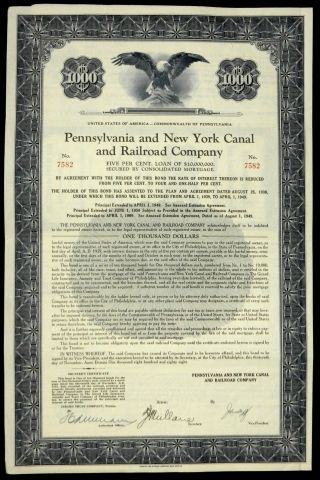 Stock Certificate Pennsylvania & York Canal Railroad 5 Loan Of $10,  000,  000 photo