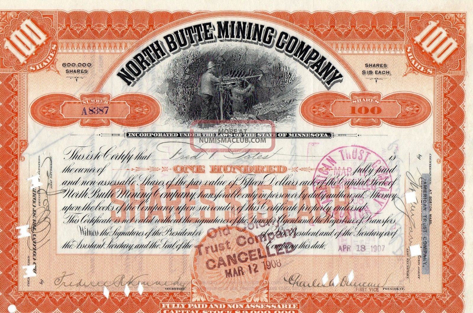 Stock Certificate: North Butte Mining Co,  1907 Stocks & Bonds, Scripophily photo