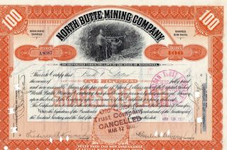 Stock Certificate: North Butte Mining Co,  1907 photo