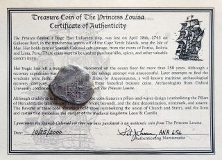 1724p Y Bolivia 8 Reales Salvaged Treasure 1743 Princess Louisa Shipwreck Cob photo