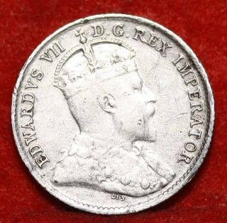 1907 Canada 5 Cents Silver Foreign Coin S/h photo