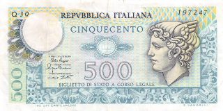Italy 500 Lire 2.  4.  1979 Series Q 30 Circulated Banknote,  G10 photo