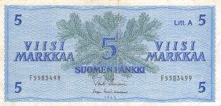 Finland 5 Markkaa 1963 P 99a Litt.  A Series F Circulated Banknote photo