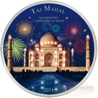 Taj Mahal - Landmarks At Night - 2016 2 Oz Pure Silver Coin - Ultra Violet Color photo