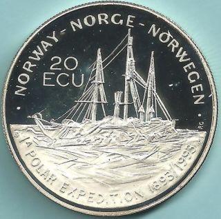 Norway.  1993 Silver 20 Ecu.  Nansen ' S Polar Expedition.  Proof photo