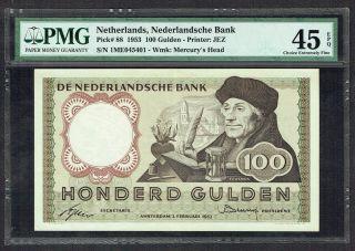 Netherlands 100 Gulden 1953 Xf / Pr Desiderius Erasmus Pmg 45epq P88 photo